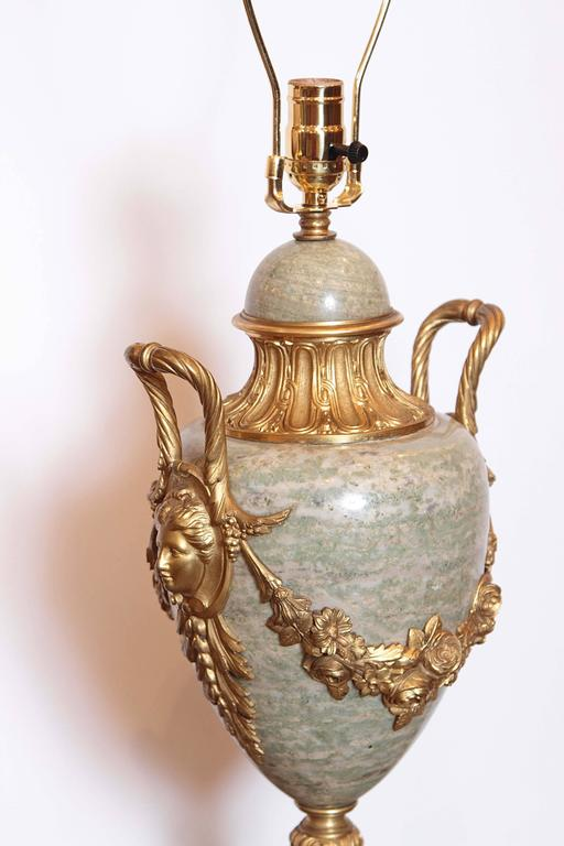 Pair of Beautiful Large 19th Century French Gilt Bronze and Marble Urn Lamps 10