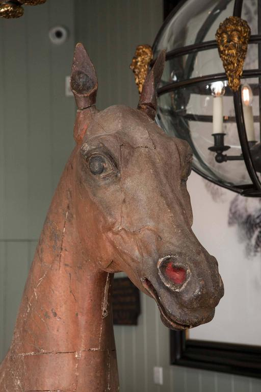 Georgian Late 18th-Early 19th Century, Full Size Wooden Sculpture of a Horse For Sale