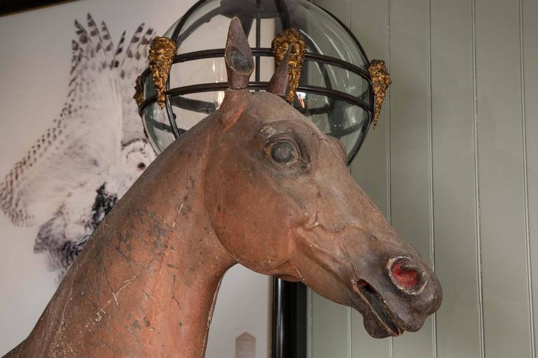 18th Century Late 18th-Early 19th Century, Full Size Wooden Sculpture of a Horse For Sale