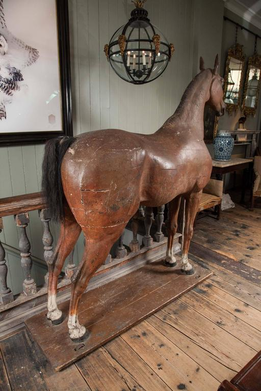 Late 18th-Early 19th Century, Full Size Wooden Sculpture of a Horse For Sale 3