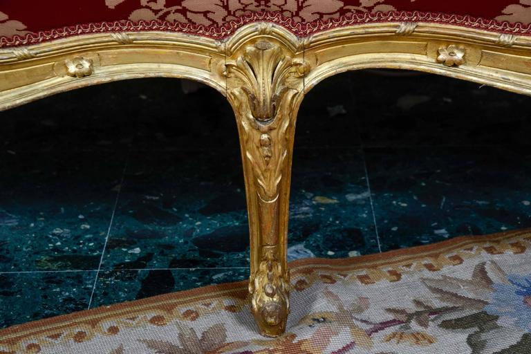 salon louis xv style five pieces in gilded wood for sale