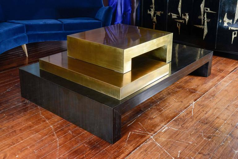 Low table in Macassar ebony and two brass modules, signed by the artist Serio.