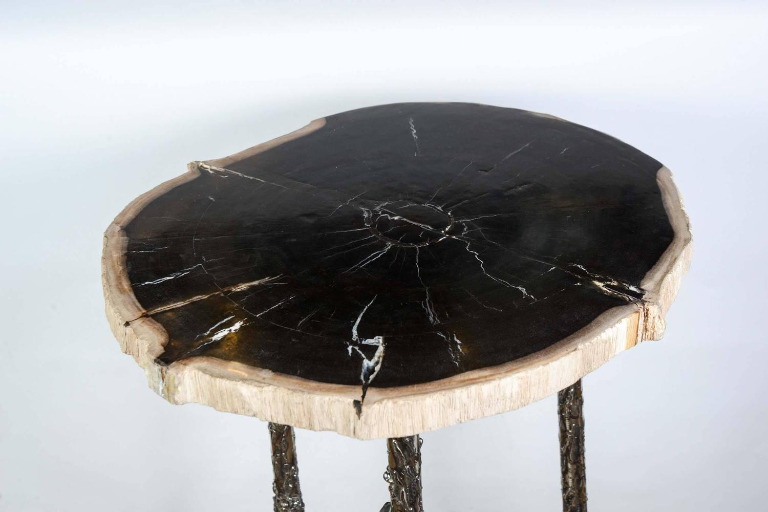 Three occasional tables with top in petrified wood for for Petrified wood furniture for sale