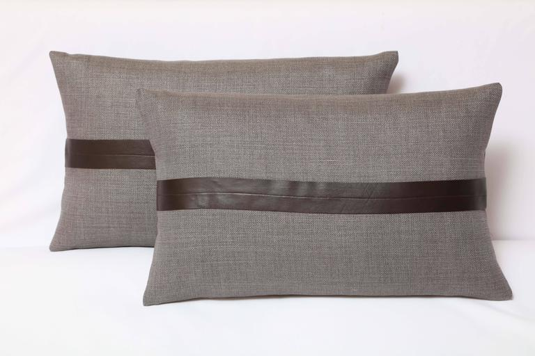 Contemporary set of two gray linen and brown leather for Brown and gray throw pillows