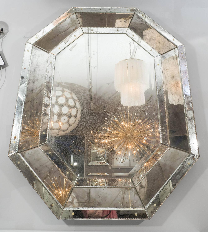 antique glass octagon mirror for sale at 1stdibs. Black Bedroom Furniture Sets. Home Design Ideas