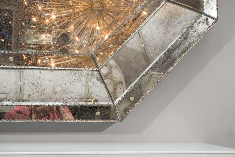 American Custom Antiqued Octagon Mirror For Sale
