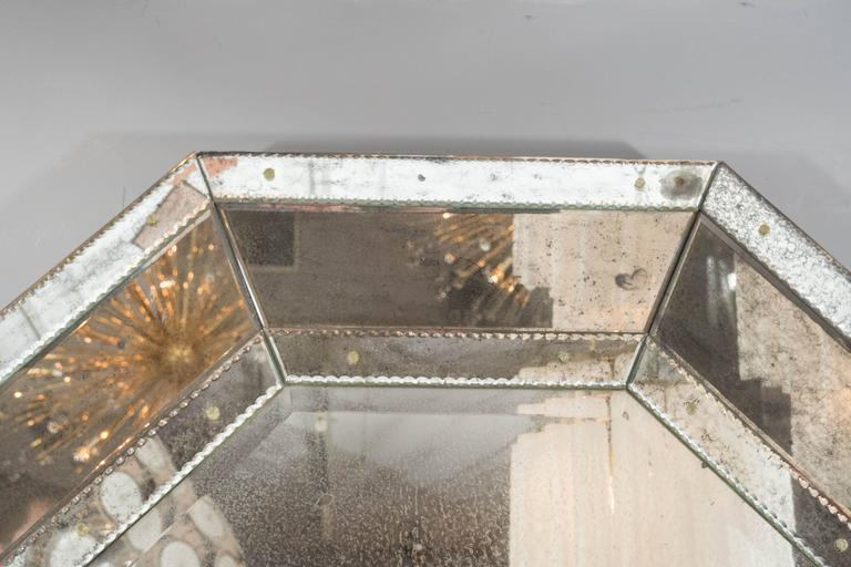 Contemporary Custom Antiqued Octagon Mirror For Sale