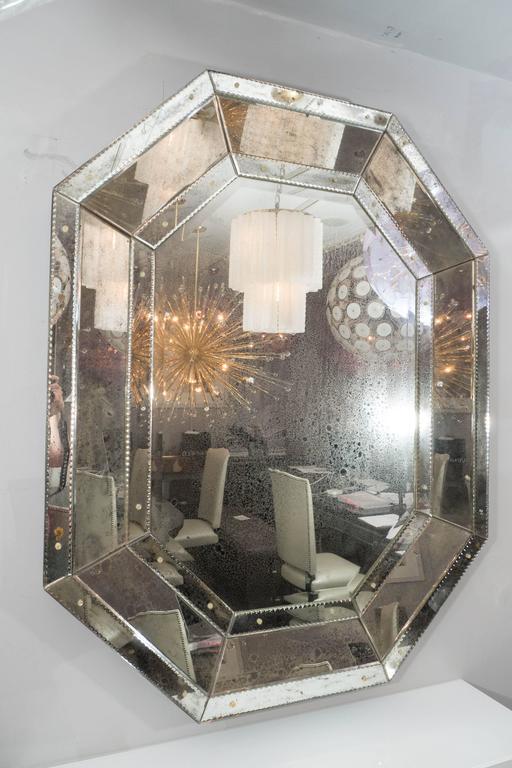 Modern Custom Antiqued Octagon Mirror For Sale