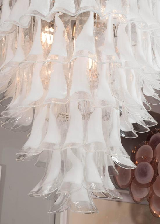 Huge Mazzega white and clear glass petal chandelier.