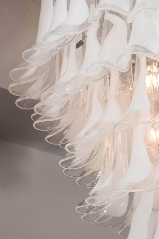 Modern Huge Mazzega White and Clear Glass Petal Chandelier For Sale