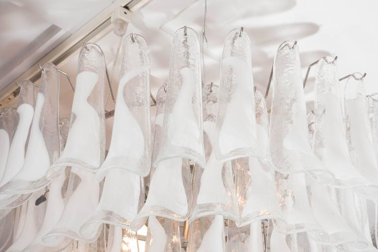 Huge Mazzega White and Clear Glass Petal Chandelier In Excellent Condition For Sale In New York, NY
