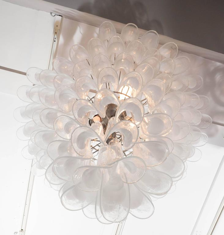 Contemporary Huge Mazzega White and Clear Glass Petal Chandelier For Sale