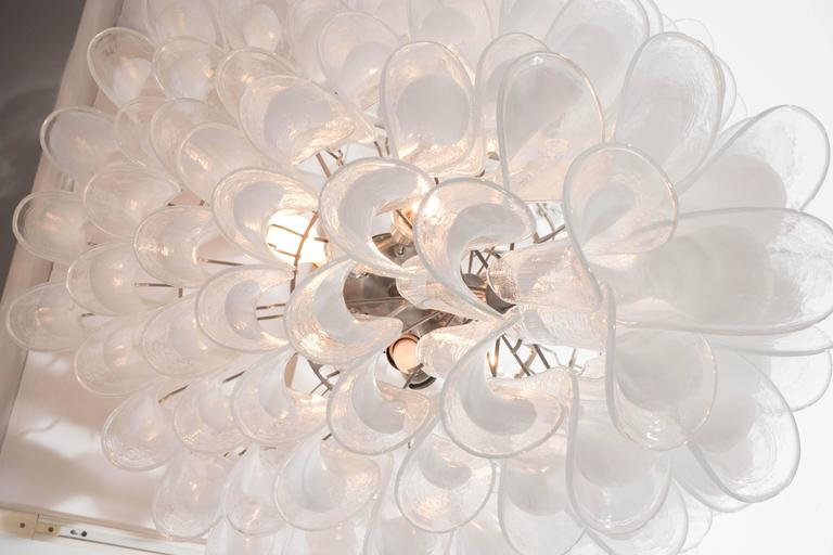 Murano Glass Huge Mazzega White and Clear Glass Petal Chandelier For Sale