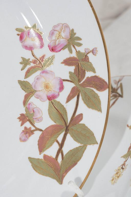 Antique Royal Worcester Porcelain Dishes Made in England circa 1877 In Excellent Condition For Sale In New York, NY