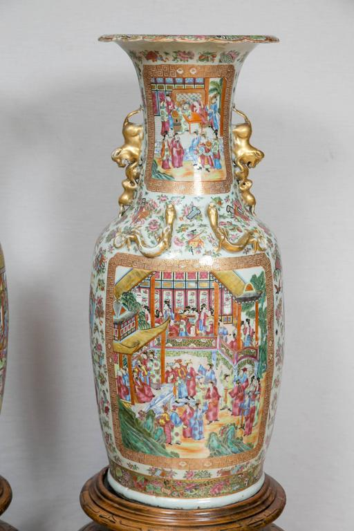 Chinese Export Pair of Large 19th Century Chinese Cantonese Floor Vases on Carved Wood Stands For Sale