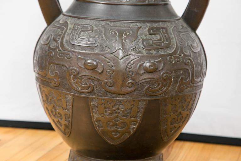 Large Chinese Archaistic Black Patina Bronze Vase In Excellent Condition For Sale In Mt Kisco, NY