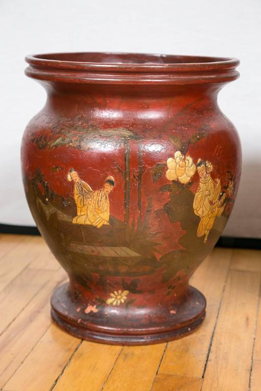 Pair of Late 19th Century Red Lacquer Chinoiserie Vases 3