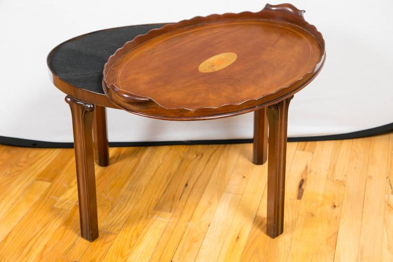 Late 19th Century Victorian Mahogany and Marquetry Oval Tray Table For Sale