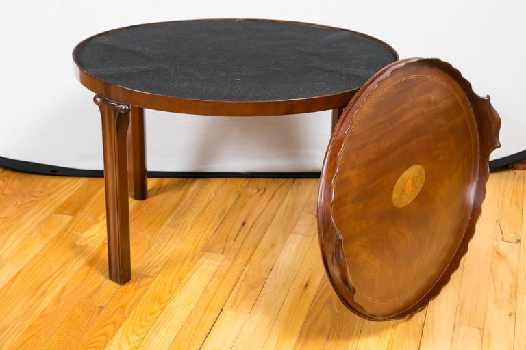 Victorian Mahogany and Marquetry Oval Tray Table For Sale 1