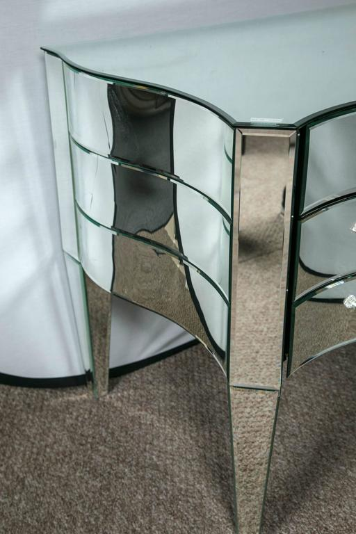 20th Century Art Deco Inspired  Beveled Mirrored Vanity Desk Hollywood Regency Style For Sale