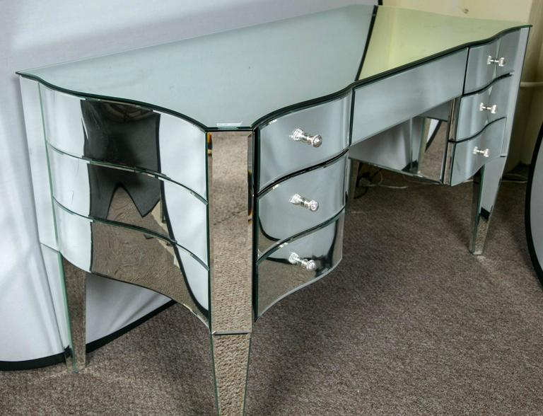 Glass Art Deco Inspired  Beveled Mirrored Vanity Desk Hollywood Regency Style For Sale