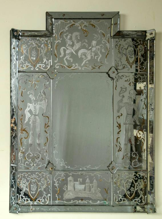 Antique Etched Mirror At 1stdibs