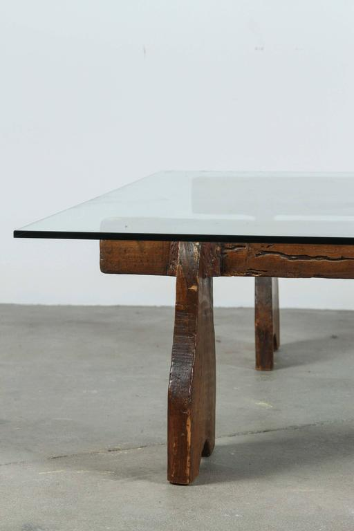 Rustic Low Cocktail Table With Wood Base And Glass Top At 1stdibs