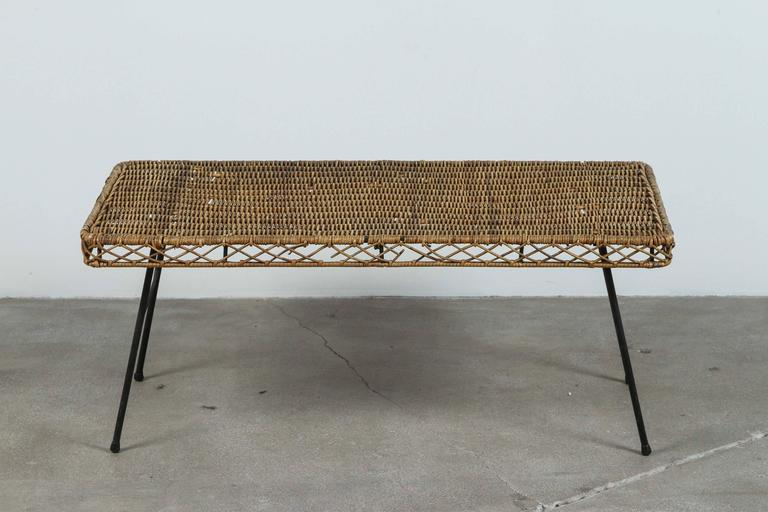 Low Rattan And Iron Table For Sale At 1stdibs
