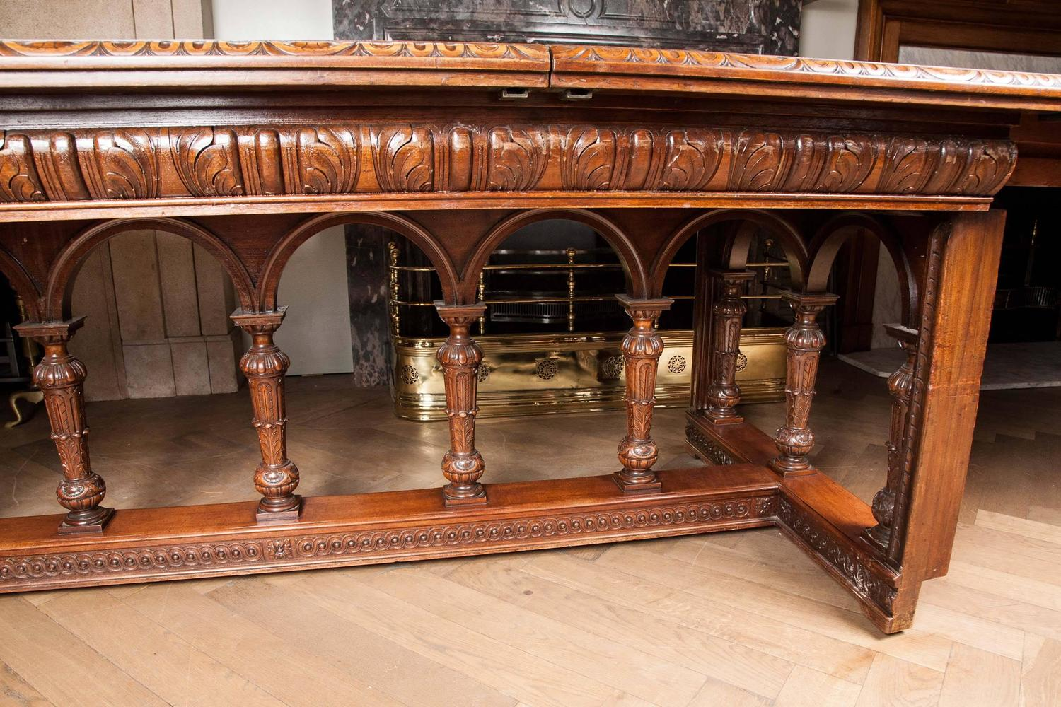 Spectacular Ornate Victorian Carved Walnut Extendable Dining Table For Sale A
