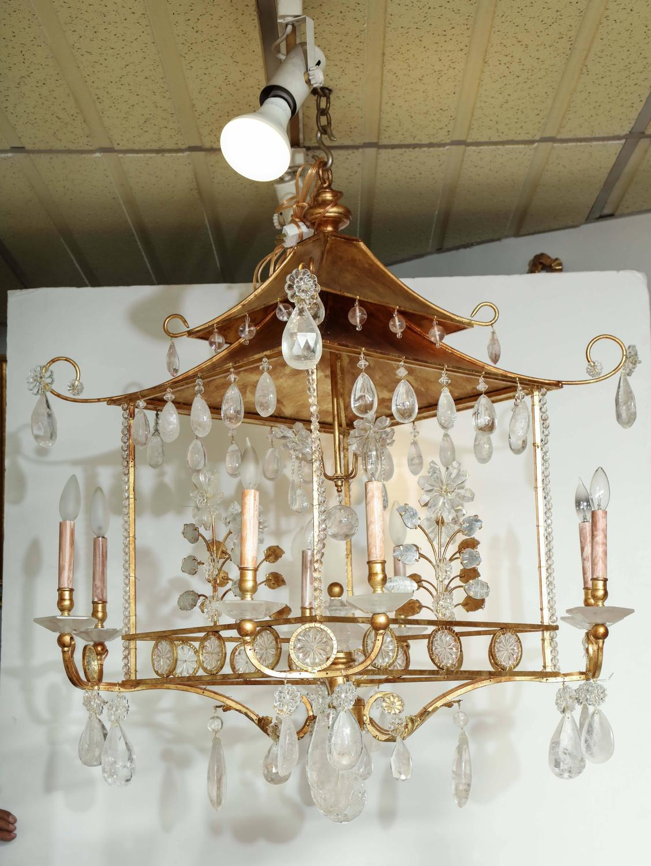 Gilded Pagoda Form Rock Crystal Chandelier For Sale at 1stdibs