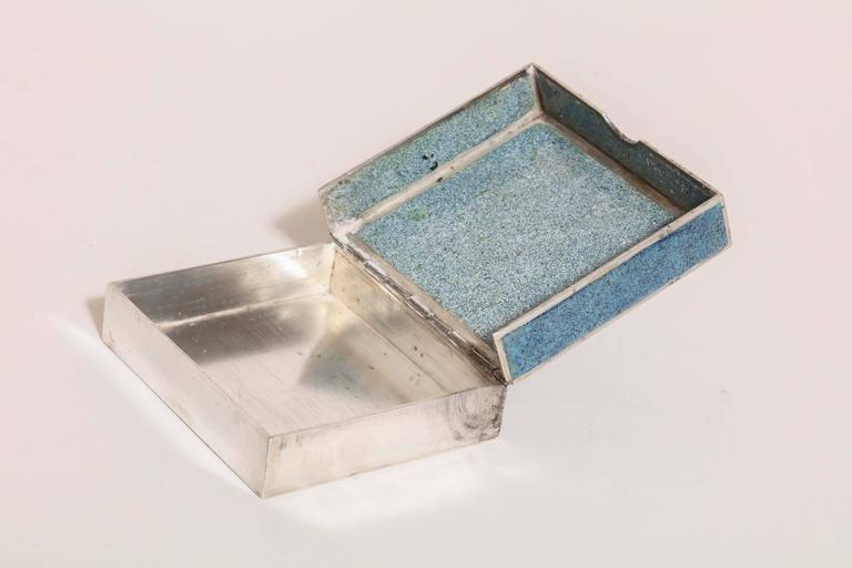 Champlevé Jean Goulden French Art Deco Sterling Silver and Champleve Enamel Box For Sale