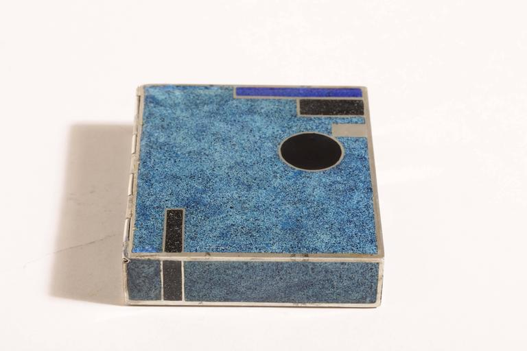 20th Century Jean Goulden French Art Deco Sterling Silver and Champleve Enamel Box For Sale