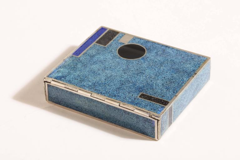 Jean Goulden French Art Deco Sterling Silver and Champleve Enamel Box For Sale 1
