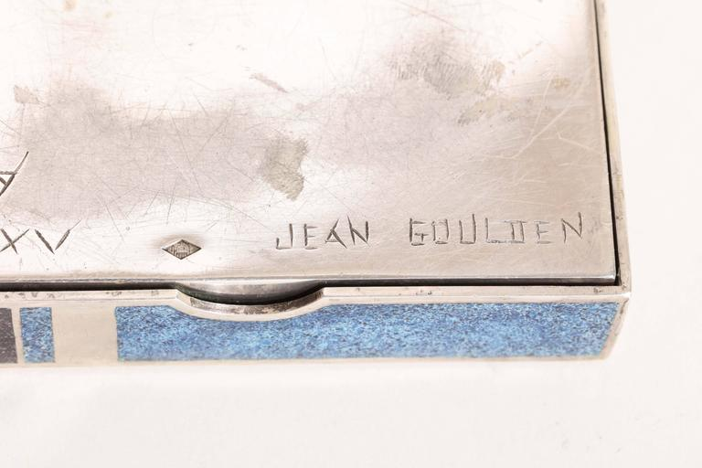 Jean Goulden French Art Deco Sterling Silver and Champleve Enamel Box For Sale 3