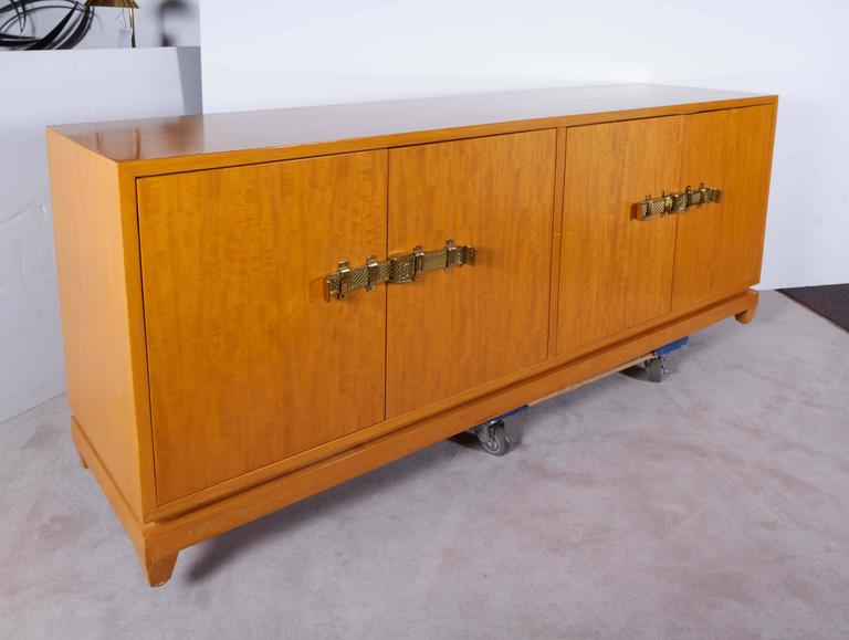 Mid-20th Century Tommi Parzinger Bleached Mahogany Sideboard For Sale