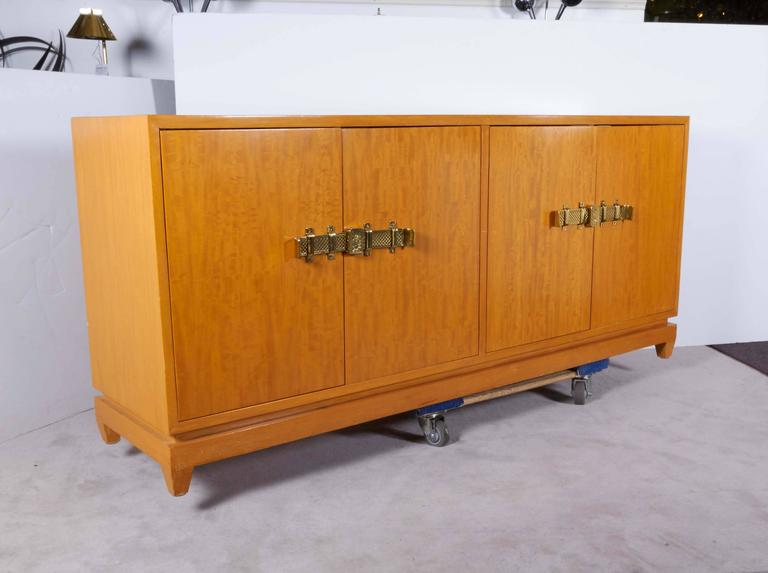 Brass Tommi Parzinger Bleached Mahogany Sideboard For Sale