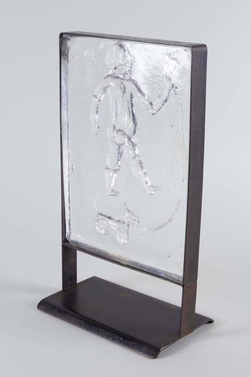 Kosta Boda Mounted Art Glass with Child at Play For Sale 2