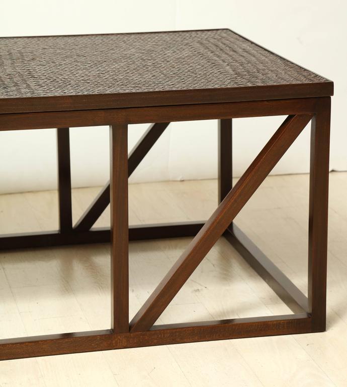 Timber Rattan Coffee Table: Rectangular Wood Coffee Table With Woven Rattan Top