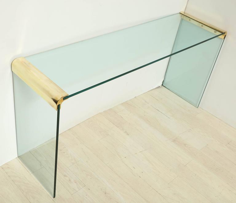 Mid-Century Modern Glass And Brass Waterfall Console Or