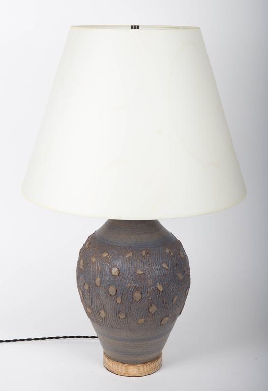 Blue Ceramic Lamp with a Cerused Oak Base 2