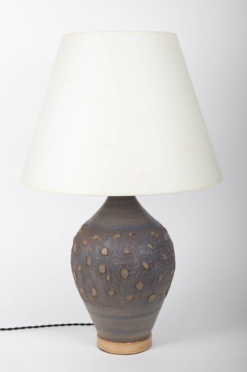 Blue Ceramic Lamp with a Cerused Oak Base In Excellent Condition For Sale In East Hampton, NY