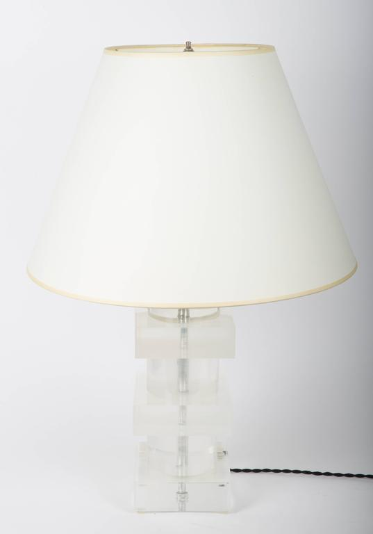 Stacked Geometric Lucite Table Lamp 3