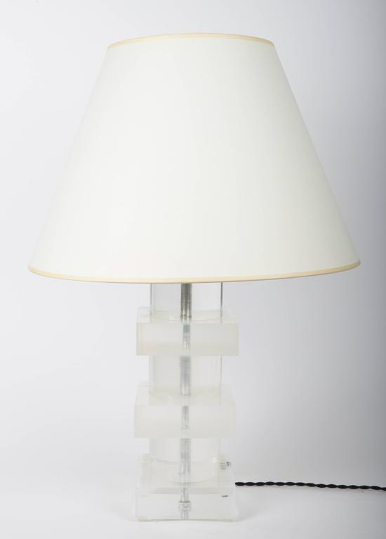 Stacked Geometric Lucite Table Lamp 2