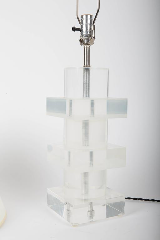 Stacked Geometric Lucite Table Lamp 6