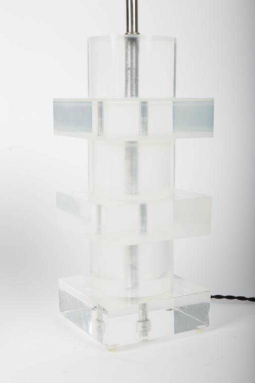 Stacked Geometric Lucite Table Lamp 7