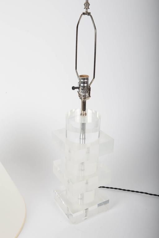 Stacked Geometric Lucite Table Lamp 9