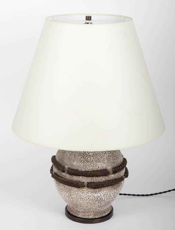 Ivory Stone Enameled Lamp with Brown Rope Detailing 2