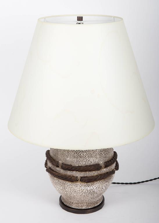 Ivory Stone Enameled Lamp with Brown Rope Detailing 3