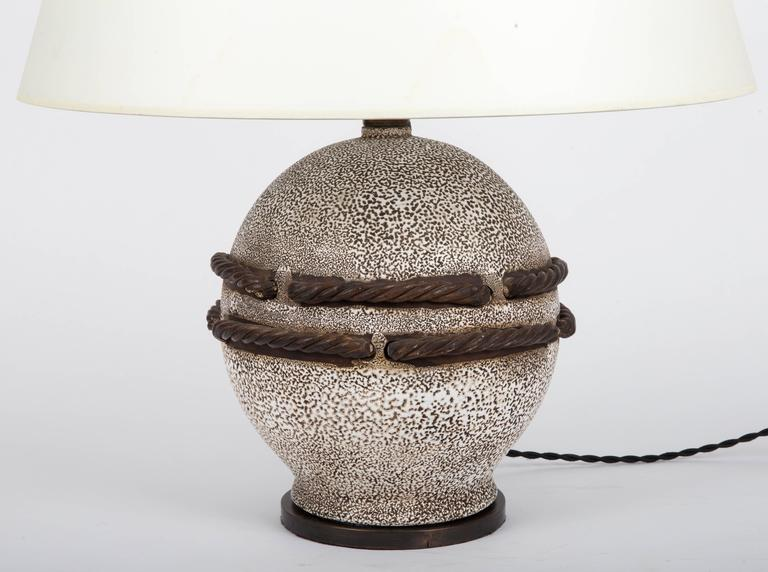 Ivory Stone Enameled Lamp with Brown Rope Detailing 4