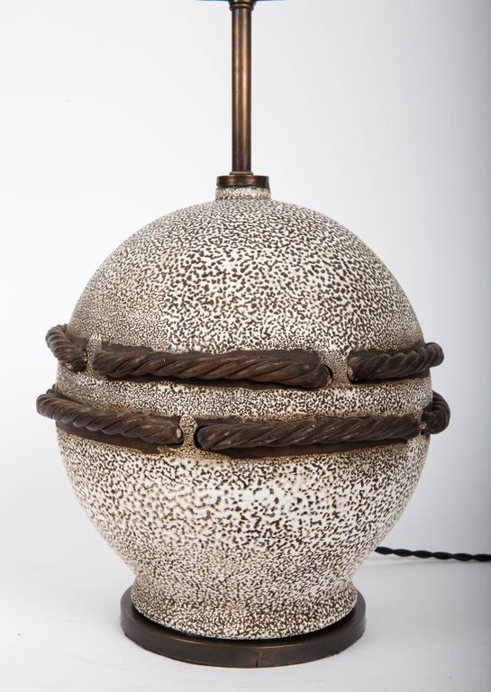 Ivory Stone Enameled Lamp with Brown Rope Detailing 8